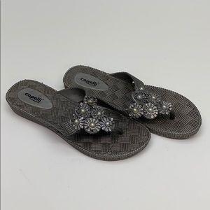 Capelli Sandals Women's Size 8 Silver Floral